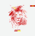 water colour lion head vector image vector image
