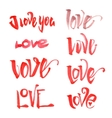 Watercolor love lettering set vector image