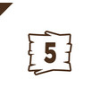 wooden alphabet blocks with number 5 in wood vector image vector image
