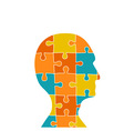 Head contains of puzzle pieces vector image
