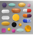 realistic pills blister pack medical tabs vitamin vector image