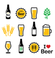 Beer colorful icons set - bottle glass