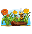 A bee above a trunk vector image vector image