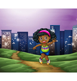 A young Black girl across the tall buildings in vector image