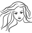 abstract young woman with flowing hair vector image vector image