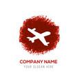 aeroplane icon - red watercolor circle splash vector image