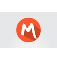 Alphabet letter M orange long shadow logo icon vector image vector image