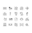 audio editing line icons signs set vector image vector image
