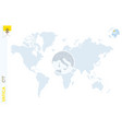 blue world map with magnifying on vatican city vector image vector image