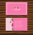 businesscard template with pink roses in vector image vector image