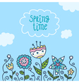 Card background with doodle flowers vector image vector image