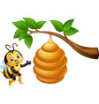 cartoon bee and a beehive vector image vector image