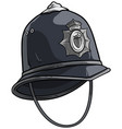 cartoon london police helmet with metal badge vector image