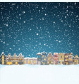 christmas house in snowfall at night happy vector image