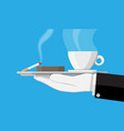 coffee cup and ashtray full of smokes cigarettes vector image vector image