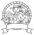 Coloring book of funny woman gardener Emblem vector image