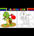coloring book turtle cartoon vector image vector image