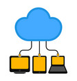 different devices connected to cloud technology vector image vector image