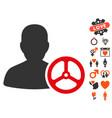 driver person icon with love bonus vector image vector image