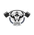 fitness center emblem with athletic man vector image vector image