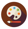 Flat Colorful Palette with Paintbrush Circle Icon vector image