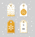 Gold textured festive gift tags vector image vector image