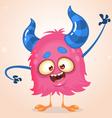 Happy cartoon pink monster vector image vector image