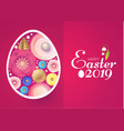happy easter card template with egg desorated with vector image vector image