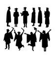 happy graduation activity silhouettes vector image