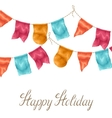 Happy holiday greeting card with garland of flags vector image vector image
