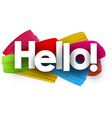 hello poster with brush strokes vector image vector image