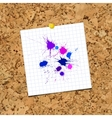 Ink Color Blots on sheet of paper over cork vector image vector image