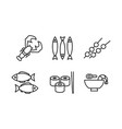 japanese cuisine dishes set asian food black line vector image vector image