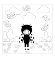 Kid in ladybug dress coloring page vector image