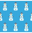 knitted christmas snowman pattern vector image vector image