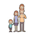 light color caricature thick contour big family vector image vector image