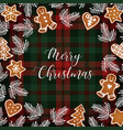 merry christmas greeting card invitation with vector image