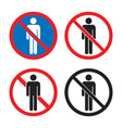 no entry icon set no people sign with man vector image vector image