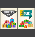 offers 50 new sale 100 promo labels banners boxes vector image vector image