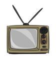 old vintage tv sketch doodle hand vector image