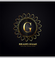 ornamental luxury logo concept for letter g vector image vector image