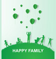 paper art of green background happy family vector image