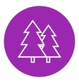 Pine trees line icon vector image vector image