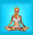 pop art tattooed girl doing yoga vector image vector image