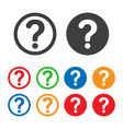 Question mark icons with various colors