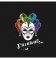 rainbow carnival mask or jester emblem vector image vector image