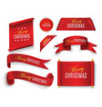 realistic red paper banners set merry christmas vector image