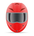 red motorcycle helmet front view isolated on a vector image vector image