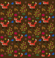 seamless woodland fox pattern with birds apples vector image