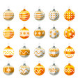 set of christmas balls yellow gold colour vector image